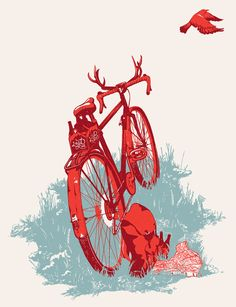 2013 #Portland #ARTCRANK #poster Wanderlust by Never Settled 3-color screenprint is individually signed and numbered. Edition of 40.    19″ x 25″  via @etsy #bike #print #screenprint