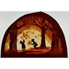 Transparant, herfstbos Autumn Crafts, Nature Crafts, Autumn Activities, Christmas Activities, Kirigami, Waldorf Crafts, Autumn Display, Nature Table, Window Art