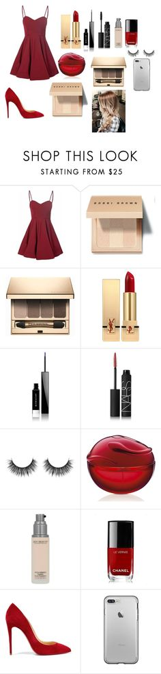 """Only red !!"" by lovepink75 ❤ liked on Polyvore featuring Glamorous, Bobbi Brown Cosmetics, Clarins, Yves Saint Laurent, Givenchy, NARS Cosmetics, Chanel and Christian Louboutin"