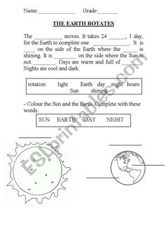 english worksheet the earth rotates ingles first grade worksheets science worksheets. Black Bedroom Furniture Sets. Home Design Ideas