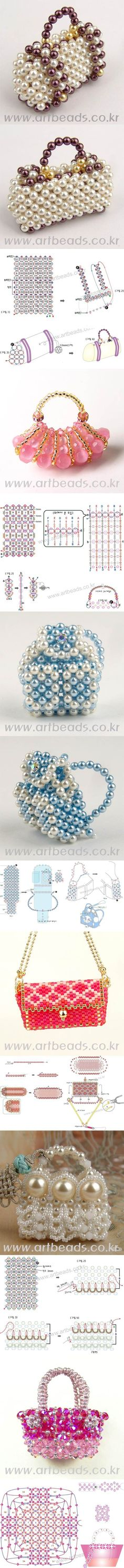DIY Cute Miniature Beaded Handbags great for pendant Beaded Beads, Beaded Ornaments, Beads And Wire, Beaded Jewelry, Jewellery, Beading Projects, Beading Tutorials, Jewelry Patterns, Beading Patterns