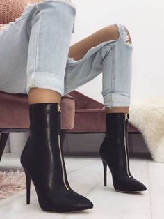 Front Zipper Thin Heeled Boots Black Heel Boots c1ed5f419134