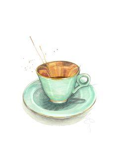 """Figgjo Moccakopp"" (Norwegian vintage coffee cup)  Copyright: Emmeselle.no   illustration by Mona Stenseth Larsen"