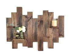 Wood Pallet Wall Art Reclaimed Wood Wall Art by AllisonAustinShop Pallet Wall Decor, Wooden Wall Decor, Wood Wall Shelf, Diy Wall Decor, Pallet Shelves, Room Decor, Reclaimed Wood Wall Art, Rustic Wood Walls, Wooden Walls