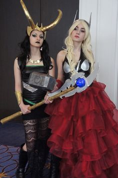 Look at all the ruffles! Lady Thor and Lady Loki cosplay. I want to do this with my best friend!!!