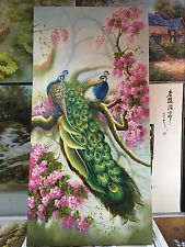 Pure Hand-painted Oil Painting Birds Peony Plum Flower Peacock Phoenix No Frame