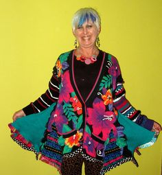 Black and Bright upcycled cotton knit sweater coat by monapaints, $325.00