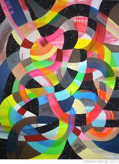 Maya Hayuk - Painting 2012 - Image provided by Copper Cole Maya Hayuk, Graffiti, Street Art, Gcse Art Sketchbook, Art Basel Miami, Map Design, Fabric Design, Sculpture, Contemporary Art