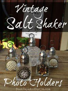 Vintage Salt Shaker Photo Holders DIY   DuctTapeAndDenim.com
