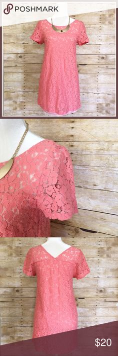 Everly Nordstrom Women's Pink Lace Shift Dress Gorgeous little summer shift dress by Everly. Short sleeve and loose, straight fit. Lace overlay with exposed semi sheer chest and sleeves. 100%polyester lining. Bust is 17 inches and length is 30 inches. Thanks so much for looking! Everly Dresses Midi