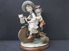 Giuseppe Armani Porcelain Figurine Gulliver's World Tricycle Girl & Boy 1982
