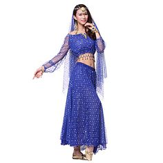 Dancewear+Pretty+Nylon+&+Tulle+Beading+Belly+Dance+Outfits+With+Veil(More+Colors,Top+&+Skirt)+–+CAD+$+41.69