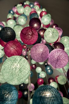 Lamp Garland/ by La case de cousin paul/ since 2005 Light Fest, Cotton Ball Lights, Deco Champetre, Ramadan Crafts, Eclectic Wedding, Colour Pallete, String Lights, Hanging Lights, Fairy Lights