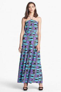 Adore this print halter maxi dress