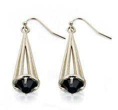 Swarovski Crystal EARRINGS | Fiorelli Shiny Gold Caged Jet Swarovski Crystal Drop Earrings E4401. Fiorelli, Swarovski Crystal Earrings, Crystal Drop, Jet, Drop Earrings, Gold, Drop Earring, Yellow