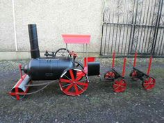 Steam Engine Road Roller Wood burner With Log Trailer, By Barry Wood @ https://m.facebook.com/LogWoodBurners