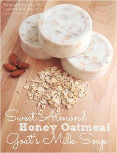 Sweet Almond Honey Oatmeal Goat's Milk Soap  Also includes Lemon Verbena Lavender