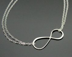 Large INFINITY Necklace - STERLING SILVER, Figure Eight, Double Strand Infinity Necklace, Best Friend Necklace.