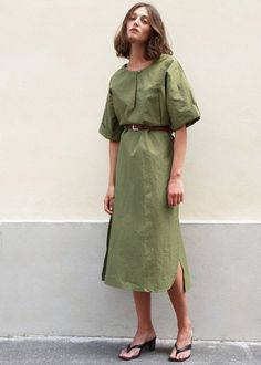 Keyhole Front Cuffed Sleeve Dress in Olive – The Frankie Shop Short Sleeve Dresses, Dresses With Sleeves, Cuff Sleeves, Belted Dress, Vegan Leather, Street Wear, Style Inspiration, Shirt Dress, Clothes For Women
