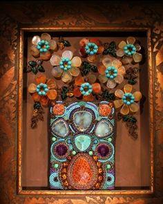 Carnelian Flowers & Turquoise Framed Art