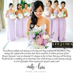 Thank you Lori of Nate + Lori Photography! I appreciate the kind words! It was a pleasure working with you on Lorraine and James' wedding at the Waldorf Astoria Orlando!