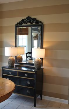"Stripe love by Emily A. Clark: Lessons in Painting Striped Walls.    Paint: ""Sherwood Tan"" by BM & ""Algonquin Trail"" by BM, both in a satin finish"