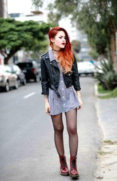 Chestlength flambé tresses, black leather boleror, cherry Doc Martens, graphite/snow gingham chambray shirt dress, black hose