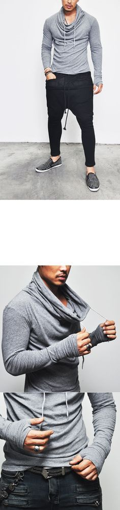 Tops :: Tees :: Avant-garde Edge Turtle Warmer Tee-Tee 230 - Mens Fashion Clothing For An Attractive Guy Look