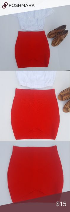 Red bandage pencil skirt medium Bright red tight pencil skirt in size medium or 6/8 NWOT! This has a bandage crisscross pattern that is so cute but hard to tell in the photos because of the way the light plays off the color.   Form fitting but not to short or tight, good for a night out.  Shirt and shoes are for sale too! Bundle for cheaper! Skirts Mini