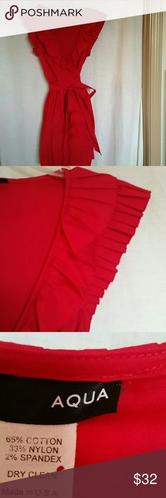 AQUA red accordion ruffled dress I love a wrap dress and with ruffles to boot....well that's a dress I love!!! Aqua Dresses Midi