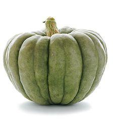 'Jarrahdale' pumpkin:  Find vibrant golden yellow to orange flesh beneath that gray-green exterior.