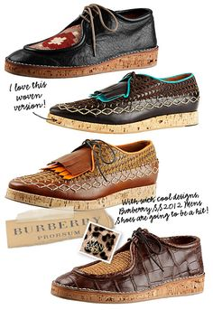 Burberry tribal inspired mens wedge. Interesting. Im sorta diggin the 2nd one. mens fashion style shoes