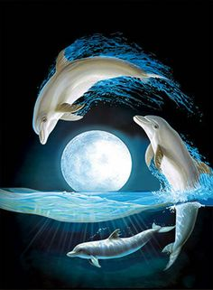 Dolphin Moon Lenticular Picture Animal Poster Painting Home Wall Art Decor Delphin Mond linsenförmige Bild Tier Poster Malerei Home Wall Art Decor Dolphin Painting, Dolphin Art, Moon Painting, Dolphin Drawing, Dolphin Photos, Dolphin Images, Animals Beautiful, Cute Animals, Dolphins Tattoo