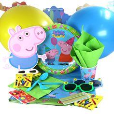 Menaje y decoración para una fiesta Peppa Pig, de www.fiestafacil.com / Tableware and decorations for a Peppa Pig party, from www.fiestafacil.com