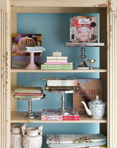 Don't you just love how the cake stands are used in the displays on these shelves at Daisy's in Alameda, CA?