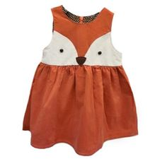 Corduroy dress with a cute fox face design with button eyes. Fully lined with a soft cotton brown polka dot.