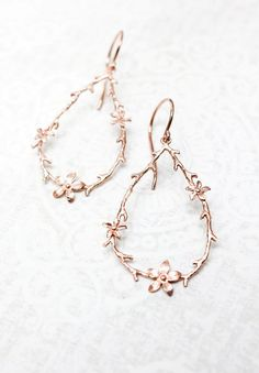 Twig and Flower Earrings Pink Gold Branch and Blossom Earrings