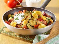 Gnocchi-Gemüse-Pfanne Rezept Rigatoni, Potato Salad, Potatoes, Chicken, Meat, Ethnic Recipes, Food, Drinks, Low Calorie Recipes