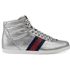 b779a7a057d4 Gucci Glitter Web High-Top Sneaker ( 595) ❤ liked on Polyvore featuring  shoes