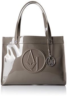 Armani Jeans Eco Patent with Detachable Charm Tote Bag, Grey Armani Jeans  Bags, Armani 42b461ccd1