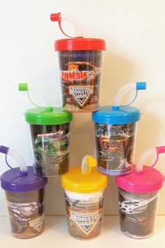 MONSTER JAM MONSTER TRUCKS BIRTHDAY PARTY FAVOR CUPS LIDS & STRAWS SET OF 6 www.PartyFavorCups4u.com