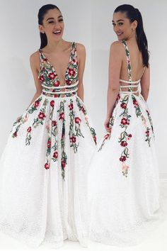 long prom dresses - Princess White Long Prom Dress with Floral Embroidery A Line Prom Dresses, Grad Dresses, Short Dresses, Backless Dresses, Floral Formal Dresses, Floral Homecoming Dresses, Prom Dresses Long With Sleeves, Floral Gown, Dress Formal