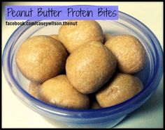 Super easy Peanut Butter Protein Bites. All you need is protein powder, honey and PB.