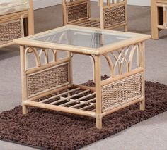 Rattan Glass Top Coffee Table