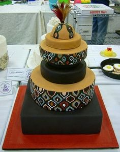60 Beautiful African Wedding Cake You Will Love for Your Inspirations - VIs-Wed Traditional Wedding Decor, Traditional Cakes, Themed Wedding Cakes, Themed Cakes, African Wedding Cakes, African Weddings, Africa Cake, Cake Show, Beautiful Wedding Cakes