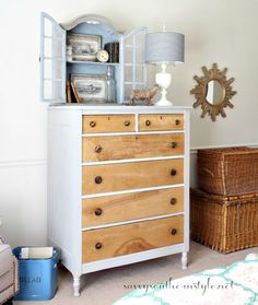 Pine Chest Makeover in Mora and Restyled Cabinet