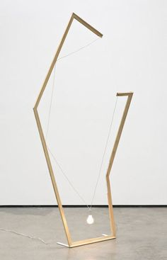 Noam Rappaport. Standing lamp #2, 2010. Wood, electrical components, 40w frosted light bulb, steel. 233.7 × 99.1 × 63.5 cm. Cherry and Martin.