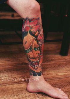 Shin Tattoo, Knee Tattoo, Leg Sleeve Tattoo, Leg Tattoo Men, Leg Tattoos, Tattoos For Guys, Calf Tattoo, Japanese Mask Tattoo, Japanese Tattoo Symbols