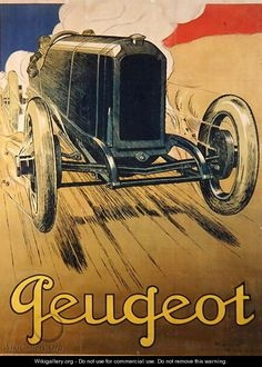Rene Vincent, Poster advertising a Peugeot Racing Car, c.1918