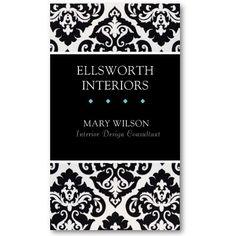 Black and White Damask Interior Design Profile Business Cards